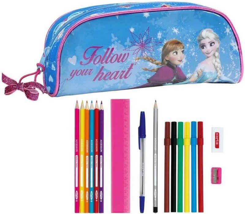 Disney Frozen Federmäppchen »Disney´s Die Eiskönigin - Federmäppchen, 17-teilig«, (17-tlg., Mädchen), Reißverschluss