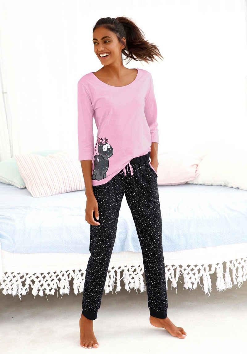 NICI Pyjama mit Einhorn-Print und gepunkteter Schlafhose