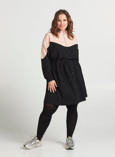 Zizzi Sweatkleid Große Größen Damen Sweatkleid mit justierbarer Taille und langen Ärmeln