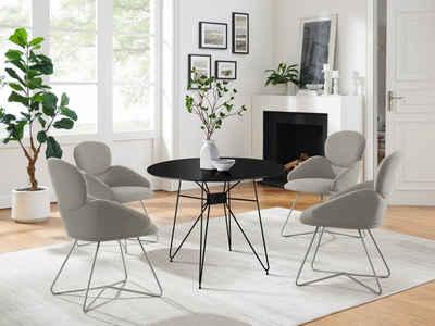 COUCH♥ Esszimmerstuhl »Komfortzone«, Beine aus Edelstahl, in 4 Farben erhältlich