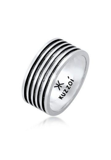Kuzzoi Silberring »Herren Bandring Massiv Rillen 925 Silber«