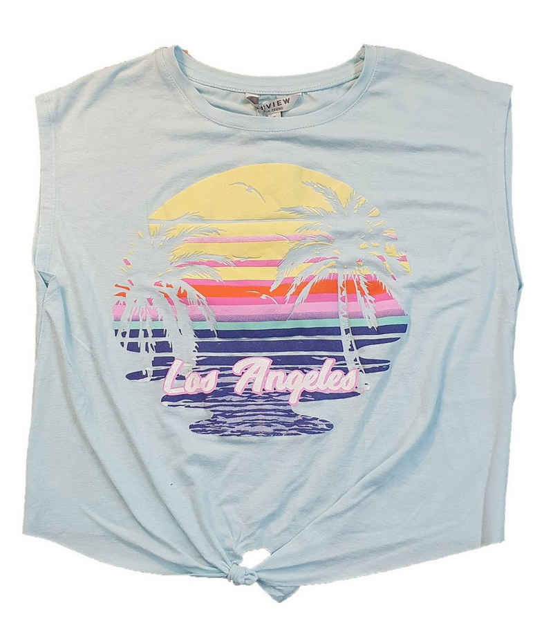 REVIEW Shirttop »REVIEW FOR TEENS Knoten-Shirt sommerliches Kinder Freizeit-Shirt Los Angeles Sommer-Shirt Hellblau«