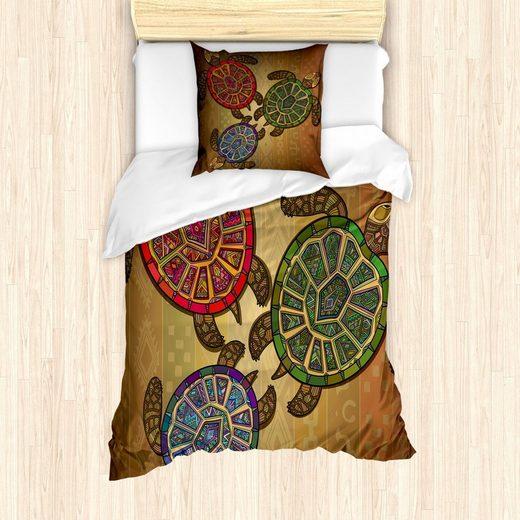 Bettwäsche »Milbensicher Allergiker geeignet mit Kissenbezug«, Abakuhaus, Ethnisch 3 Schildkröten Zier