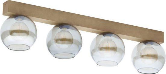 Licht-Erlebnisse Deckenleuchte »ARTWOOD Moderne Deckenleuchte Holz Glas wohnlich Wohnzimmer Flur Lampe«