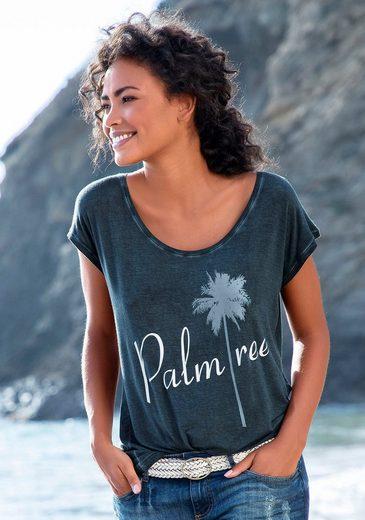 """Beachtime T-Shirt mit Sprüche Frontdruck """"Palmtree"""""""