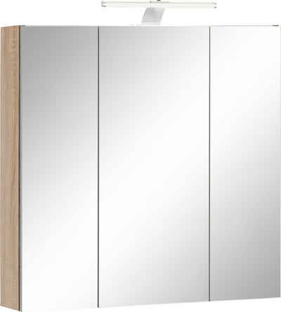 Schildmeyer Spiegelschrank »Lagona« Breite 70 cm, 3-türig, LED-Beleuchtung, Schalter-/Steckdosenbox, Glaseinlegeböden, Made in Germany