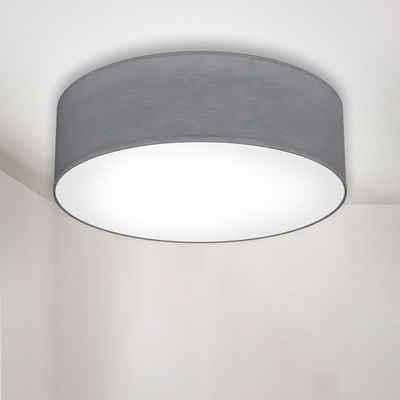 B.K.Licht LED Deckenleuchte, LED Deckenlampe Stoff Textil Lampenschirm grau E27 Schlafzimmer Wohnzimmer Ø30cm