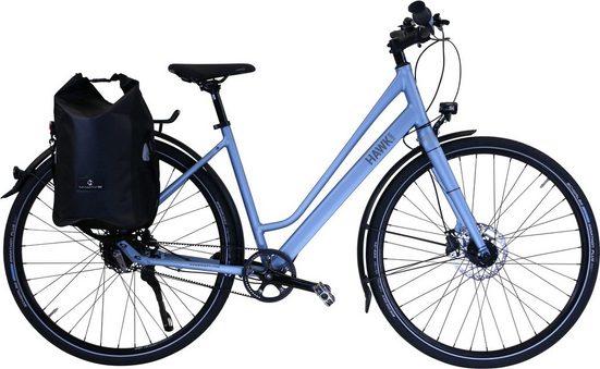 HAWK Bikes Trekkingrad »HAWK Trekking Lady Super Deluxe Plus Sky Blue«, 8 Gang Shimano Nexus Schaltwerk