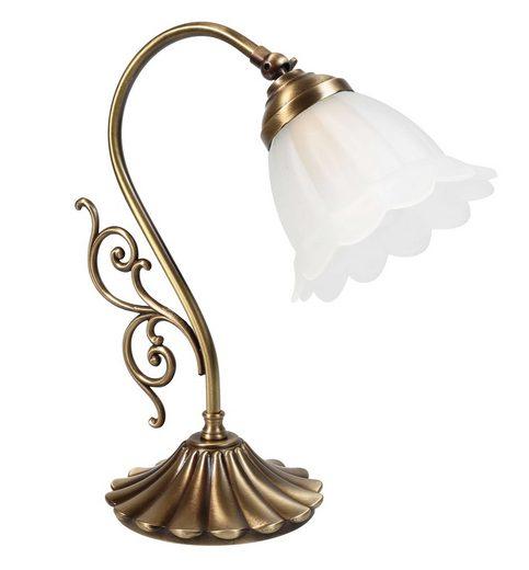 Licht-Erlebnisse Tischleuchte »TABLE LAMP Tischlampe Messing in Bronze Floral E14 Premium Schlafzimmer«