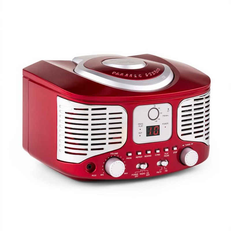 Auna »RCD320 Retro-CD-Player UKW AUX rot« CD-Player (UKW-Radio, 0 W)