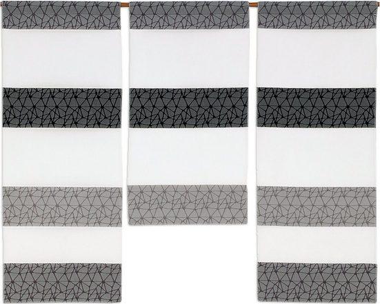 Scheibengardine »3er Set Miniflächen Vorhänge Scheibengardine Küchengardine 2292 Weiß Grau Hellgrau«, EXPERIENCE, Stangendurchzug (3 Stück), 3er Set Flächenvorhänge
