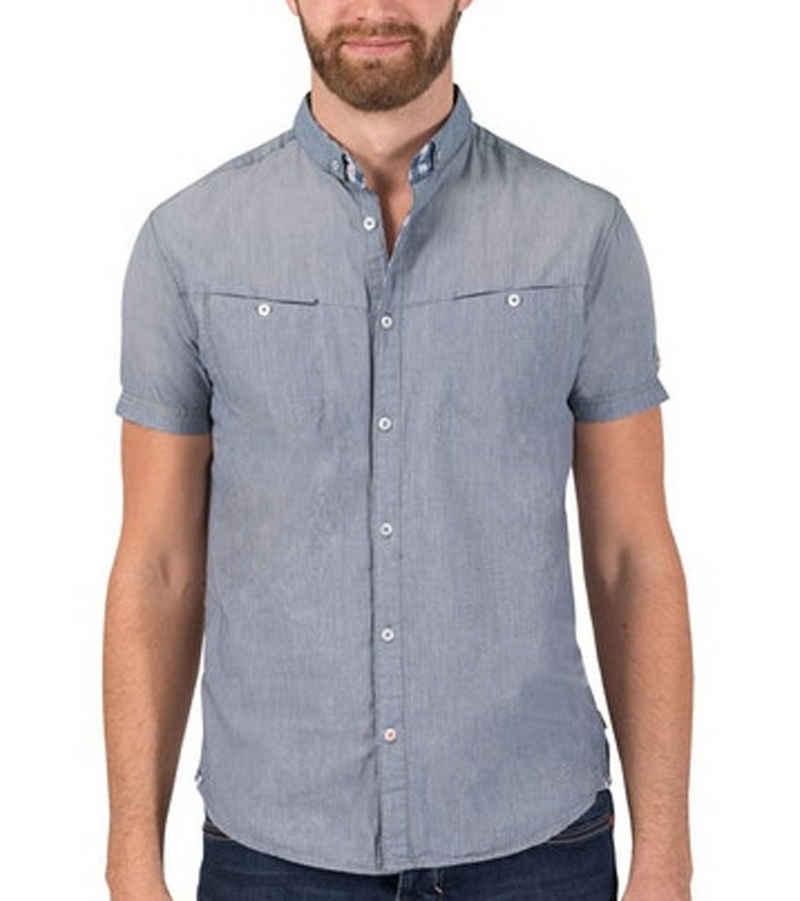 TIMEZONE Kurzarmhemd »TIMEZONE Washed Shortsleeve Freizeit-Shirt klassisches Herren Kurzarm-Hemd Sommer-Hemd Blau/Grau«