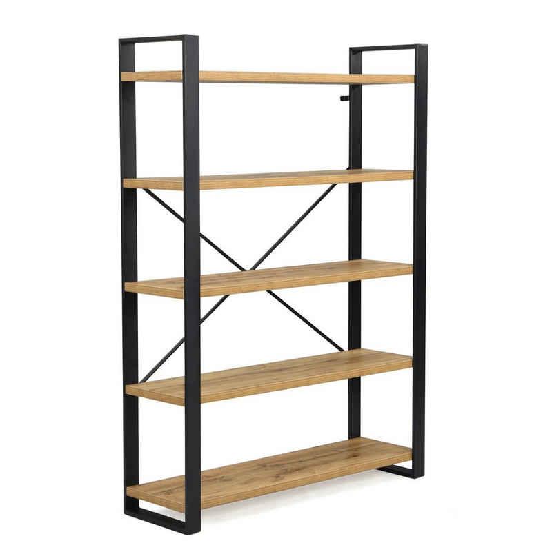 B&D home Bücherregal »Regal AVA«, Standregal mit 5 Ebenen, Raumteiler, 120 cm breit, 170 cm hoch, Eiche Optik, industrial