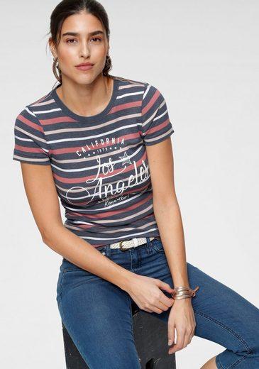 KangaROOS T-Shirt in schönem Streifenmix mit Frontdruck