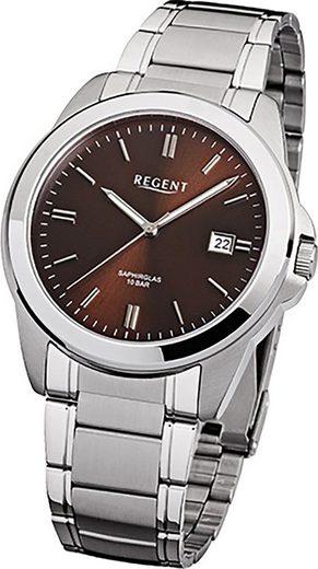 Regent Quarzuhr »D2URF921 Regent Stahl Herren Uhr F-921 Quarzuhr«, (Quarzuhr), Herrenuhr mit Edelstahlarmband, rundes Gehäuse, mittel (ca. 39mm), Elegant-Style