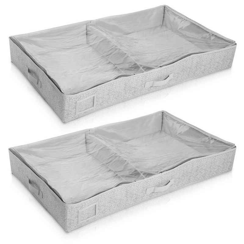 Navaris Unterbettkommode, 2x Unterbett Aufbewahrung aus Stoff 91x50x14cm - mit Sichtfenster groß flach - Bett Aufbewahrungsbox aus Polyestervlies