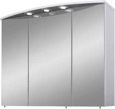 Schildmeyer Spiegelschrank »Verona« Breite 100 cm, 3-türig, 3 LED-Einbaustrahler, Schalter-/Steckdosenbox, Glaseinlegeböden, Made in Germany