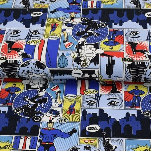 larissastoffe Stoff »Jersey Stoff Comic Pop Art Jungen Männer blau«, Stoffe zum Nähen, Meterware, 50 cm x volle Breite