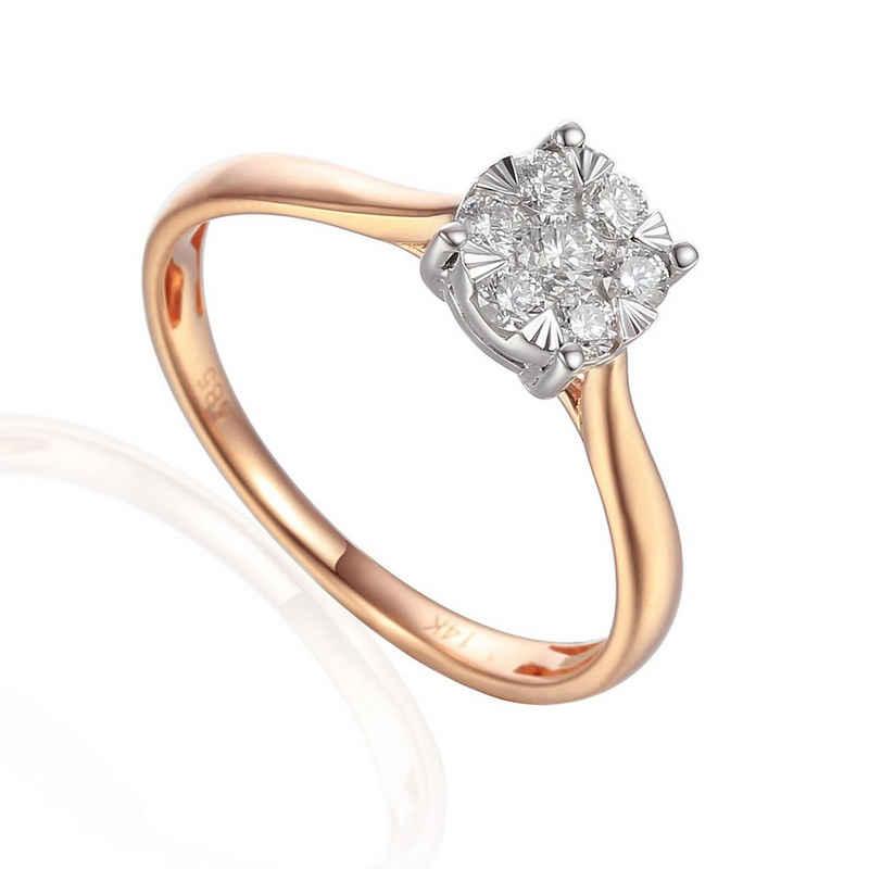 Stella-Jewellery Verlobungsring »585er Rotgold Solitärring Diamant 0,28 ct Illusion« (inkl. Etui), mit 7 Brillant 0,28ct. - poliert
