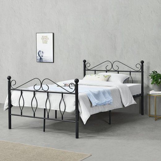 en.casa Metallbett, »Apolda« Gästebett Jugendbett mit Lattenrost schwarz in verschiedenen Größen