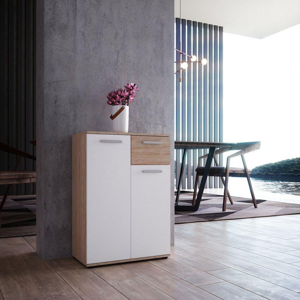 Newroom Kommode »Esra«, Sideboard Sonoma Eiche Weiß Modern Anrichte  Highboard Wohnzimmer Schlafzimmer Flur Esszimmer online kaufen | OTTO