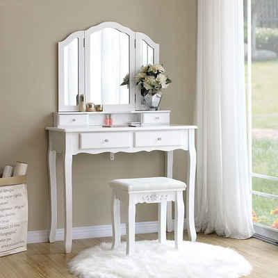 SONGMICS Schminktisch »RDT07W«, Frisiertisch, Kosmetiktisch mit 3 Spiegel, mit Hocker u. 4 Schubladen, weiß