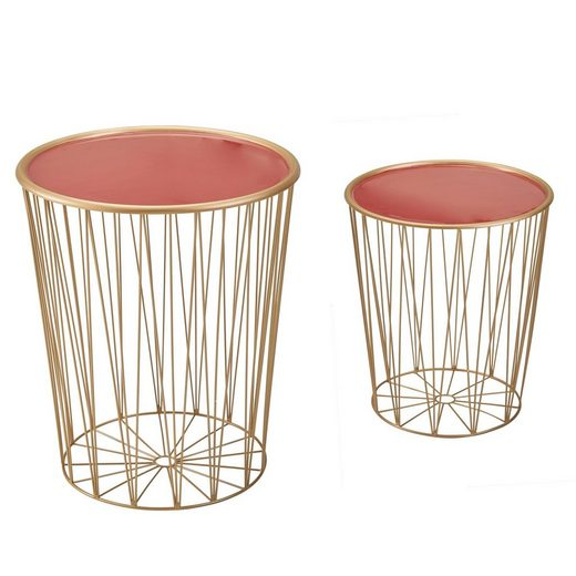 Wohnling Satztisch »WL6.243«, Design Beistelltisch 2er Set Korbtisch Rot / Gold Rund Wohnzimmertisch Modern mit Stauraum Couchtisch Sofatisch 2-teilig mit abnehmbaren Tablett