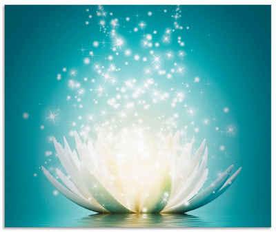 Artland Küchenrückwand »Magie der Lotus-Blume«, (1-tlg), selbstklebend in vielen Größen - Spritzschutz Küche hinter Herd u. Spüle als Wandschutz vor Fett, Wasser u. Schmutz - Rückwand, Wandverkleidung aus Alu