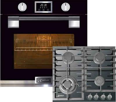 Kaiser Küchengeräte Gasherd-Set EH 6338 S + KCG 6383/3, Einbau Backofen, Glastür mit SOFTCLOSE, 11 Funktionen, Temperatursonde, Bratautomatik +60cm, Schwarz Glas, Einbau Herd, 3,8kW WOK