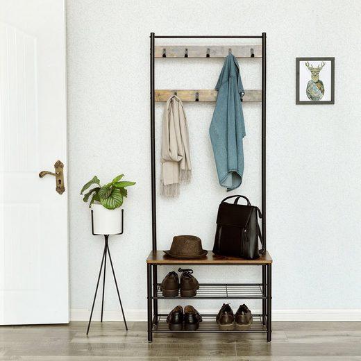 VASAGLE Garderobenständer »HSR41BX HSR41MG«, Kleiderständer mit Schuhablagen, vintage