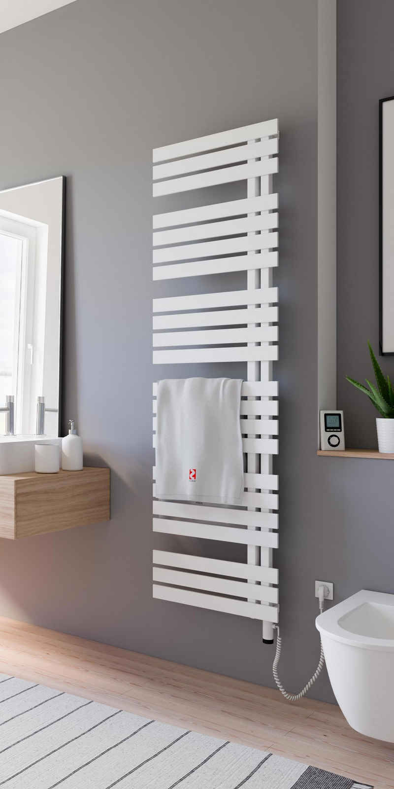 Schulte Elektrischer Badheizkörper »Design-Handtuchwärmekörper Breda«, inkl. Heizstab 5 mit Fernbedienung, steckerfertig