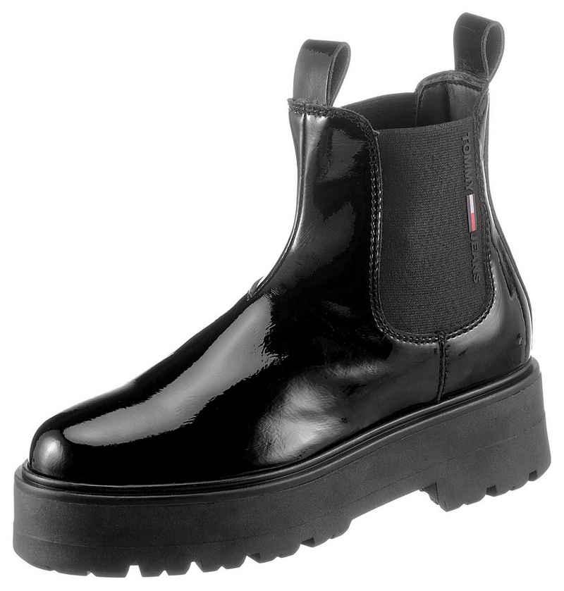 Tommy Jeans »PATENT CHELSEA BOOT« Chelseaboots mit beidseitigem Stretcheinsatz