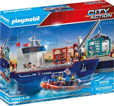 Playmobil® Konstruktions-Spielset »Großes Containerschiff mit Zollboot (70769), City Action«, (135 St), Made in Germany
