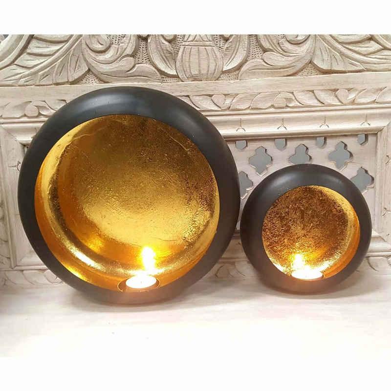 Casa Moro Hängewindlicht »Orientalische Wand Windlichter 2er Set Dinesh innen Gold außen Schwarz, 2 marokkanische Teelichterhalter als Wanddeko, WLC1680« (2 Stück, 2er Set), Handmade mit Goldoptik