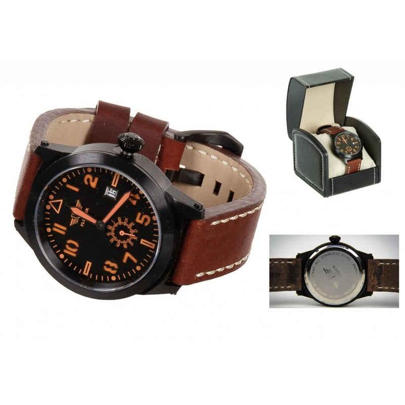 FLIEGER Fliegeruhr »Armbanduhr, Lederarmband braun, mit Etui«, (mit Armband), mit Echtleder-Armband