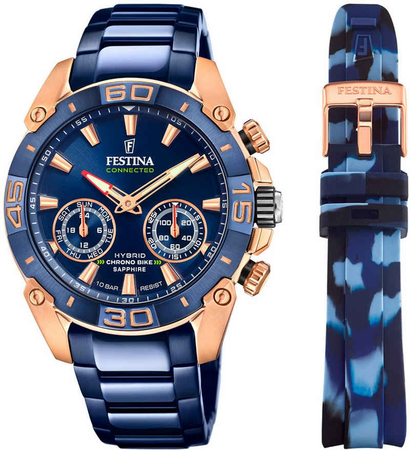 Festina Chronograph »Chrono Bike 2021 - Special Edition Connected, F20549/1«, (Set, 2-tlg., mit Wechselband)