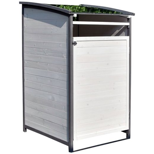 Mucola Mülltonnenbox »Mülltonnenverkleidung Einzelbox Mülltonne 240L Gartenbox Anbaubox Holz Anbau Deckel Grau Braun Weiß Zinkdach Mülltonnenbox«, mit Deckel