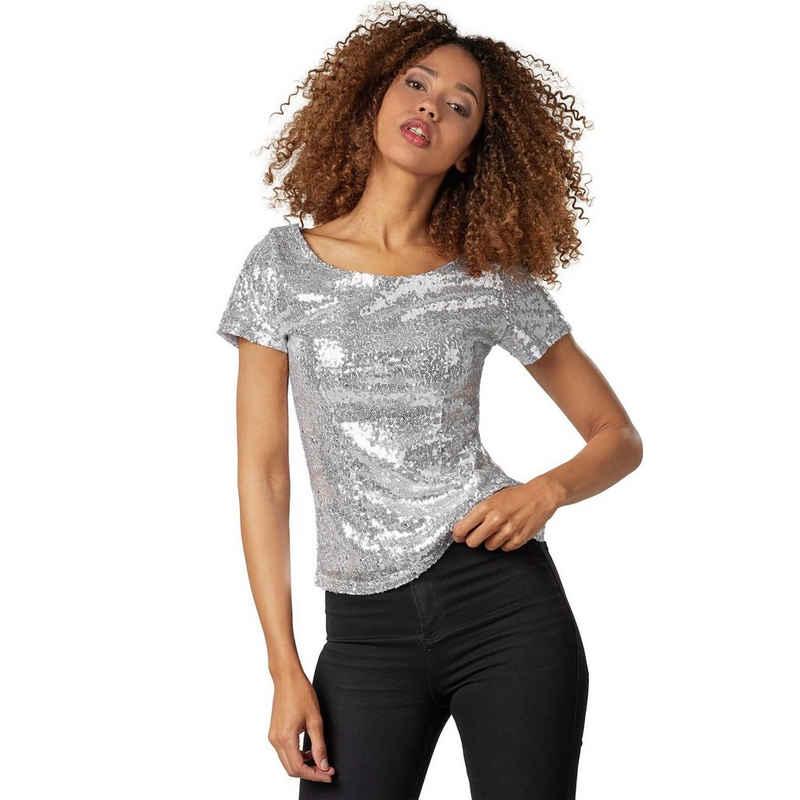 dressforfun T-Shirt »Pailletten-Kurzarm-Shirt« (1-tlg)