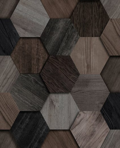 WOW Vliestapete »Hexagon«, Holz