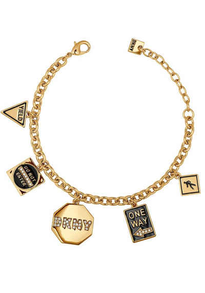 DKNY Armband »NYC Street Sign Charm BR (GL), 5547985«, mit Swarovski® Kristallen und Emaille