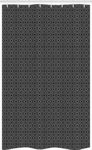 Abakuhaus Duschvorhang »Badezimmer Deko Set aus Stoff mit Haken« Breite 120 cm, Höhe 180 cm, Schwarz und Grau Antike Blumenfliesen