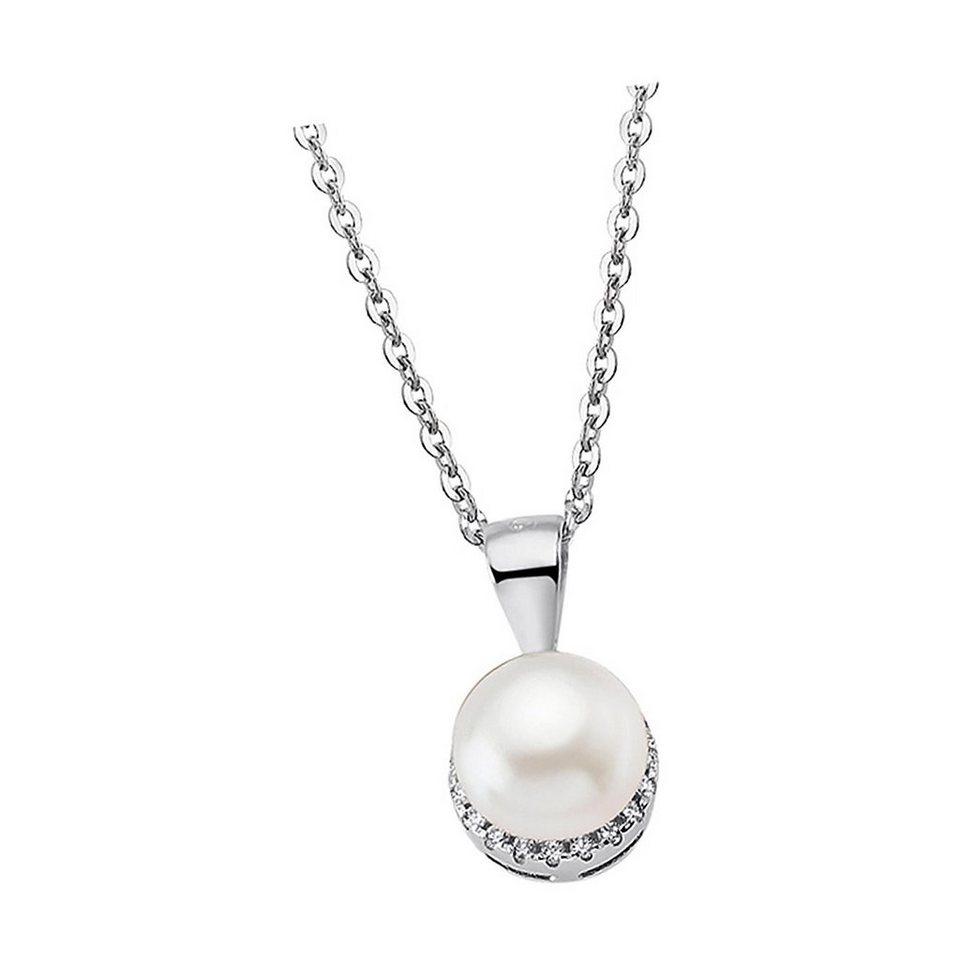Neue Edelstahl Kette Halskette Damen Herren Perlmutt Collier Glieder weiß Silber