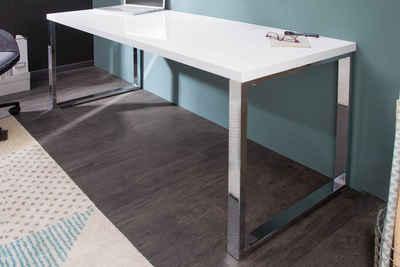 riess-ambiente Schreibtisch »WHITE DESK 140cm weiß / silber«, Bürotisch · Hochglanz · Modern Design · Arbeitszimmer
