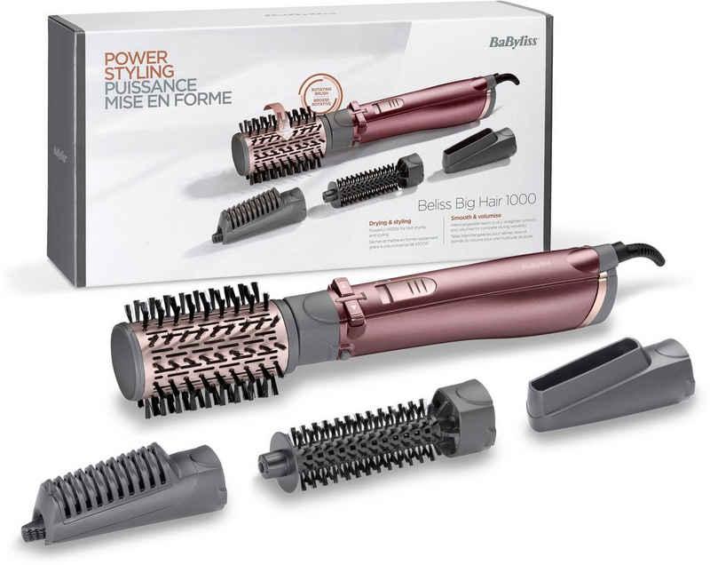 BaByliss Warmluftbürste AS960E Beliss Big Hair, rotierender Heißluftstyler mit 4 Aufsätzen inkl.Tasche