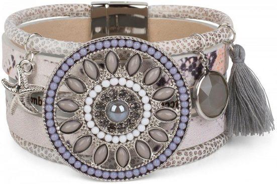 styleBREAKER Wickelarmband »Breites Armband mit Perlen, Strass & Ethno Amulett«, Breites Armband mit Perlen, Strass & Ethno Amulett