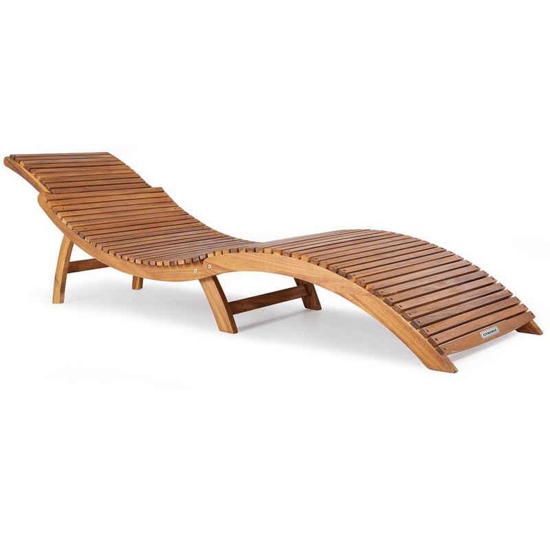 Casaria Gartenliege Sonnenliege Akazienholz Holz Klappbar Kofferfunktion Ergonomisch Gartenliege Liegestuhl Holziege Liege Faltbar