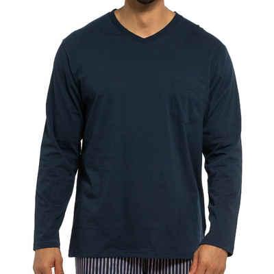 Ammann Pyjamaoberteil »Organic Cotton - Mix & Match Schlafanzug-Shirt mit V-Ausschnitt langarm« (1-tlg) Schlafanzüge zum selbst zusammenstellen, Im Zeitlosen Design, Angenehm auf der Haut