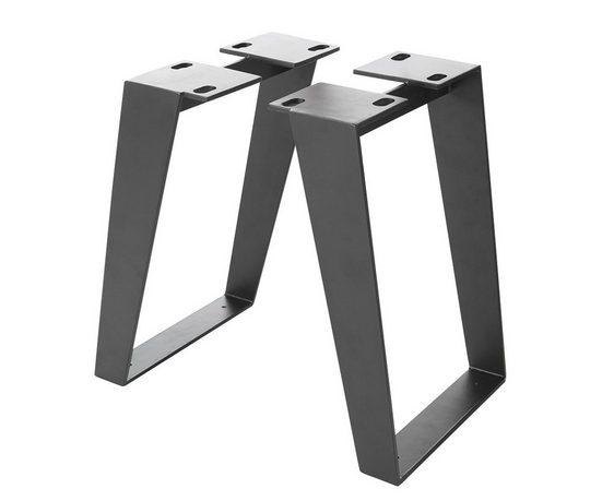 DELIFE Tischbein »Live-Edge«, Metall Schwarz schräg Bankbeine Gestell