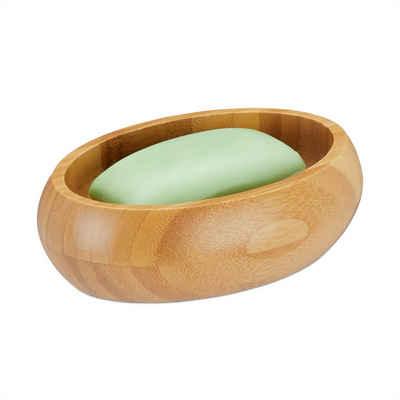 relaxdays Seifenablage »Seifenschale Bambus«, Breite: 10 cm