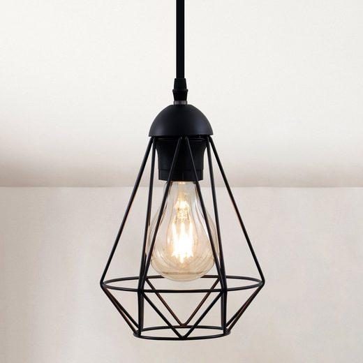 B.K.Licht LED Pendelleuchte, LED Hängelampe schwarz Metall Draht Vintage Industrieleuchte Decke Retro E27